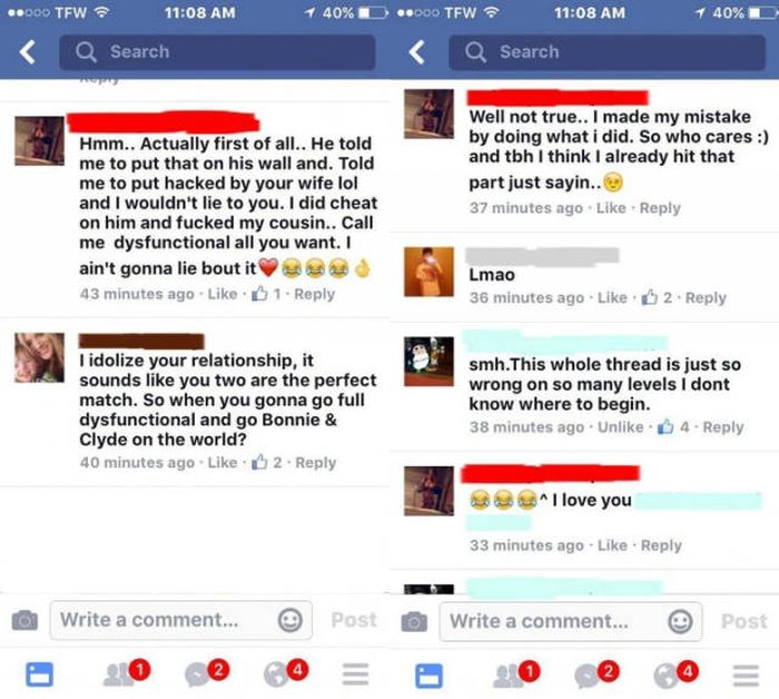 Cheating Wife Totally Owns Up To Banging Her Cousin On Facebook