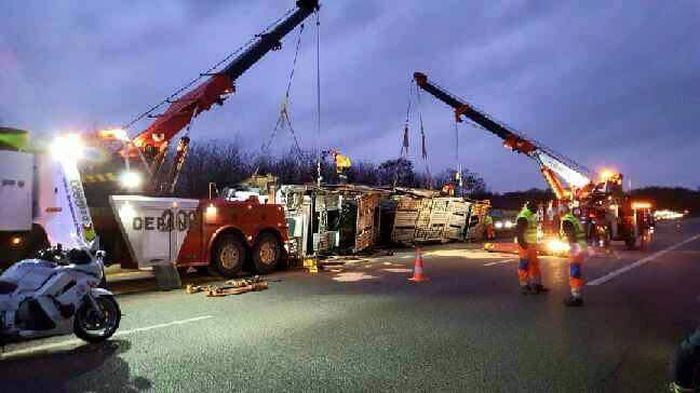 Transporter Carrying 9 Supercars Overturns On The Road