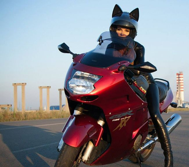 Babes Wearing Motorcycle Helmets With Cat Ears Is Definitely A Russian Thing