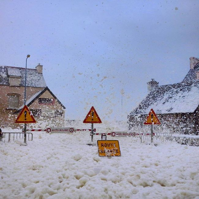 A Town In France Is Completely Covered In Foam