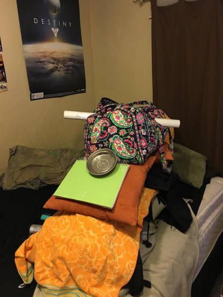 Guy Stacks Massive Amount Of Junk On His Sleeping Girlfriend