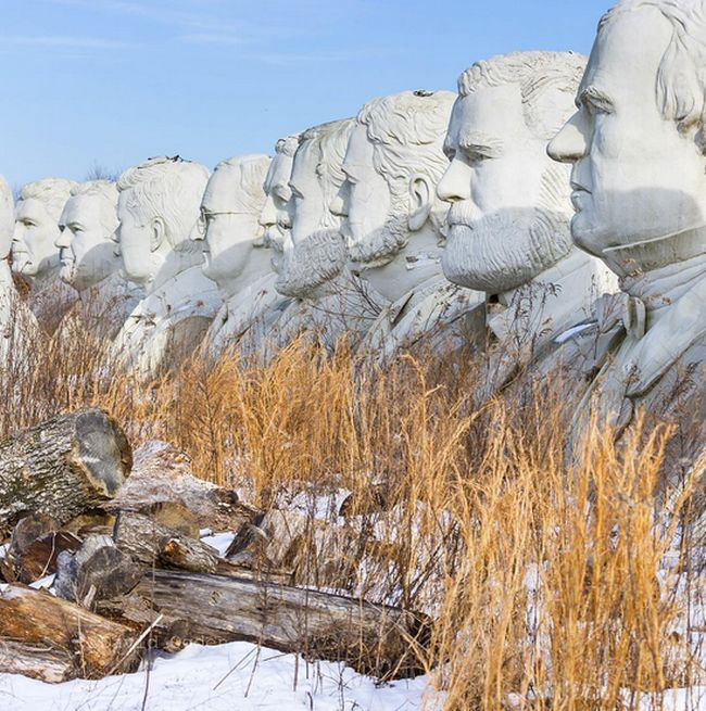 In Virginia There Are 43 Giant Presidential Heads Sitting In A Field