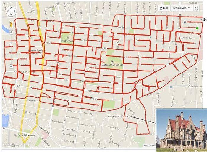 Guy On Bike Creates Giant Doodles Using His GPS App