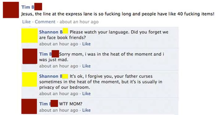 Kids Who Ended Up In Cringeworthy Conversations With Their Moms On Facebook