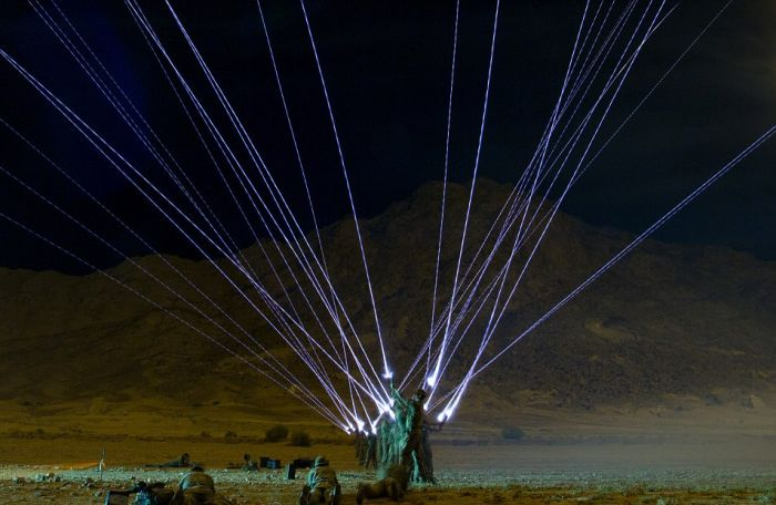 UK Soldiers Light Up The Sky With Shamooli Flares