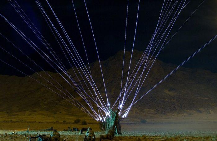 UK Soldiers Light Up The Sky With Shamooli Flares