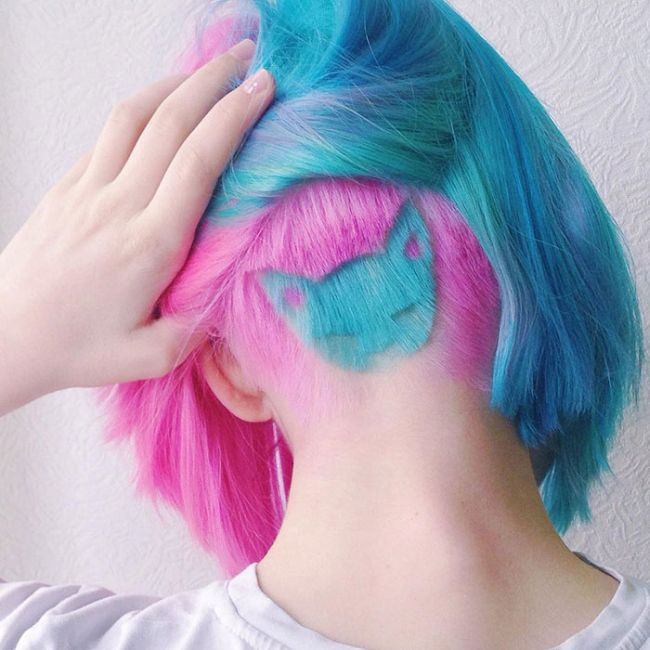 Russian Girl Is Going Viral Because Of Her New Rainbow Cat Undercut