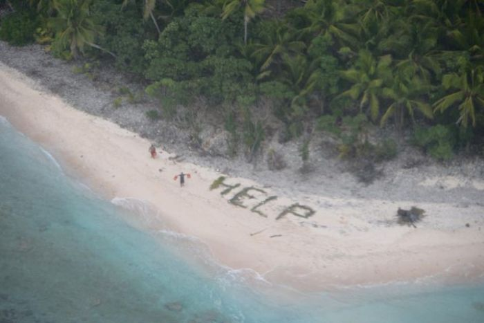 Castaways Get Rescued After Making A Help Sign In The Sand