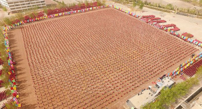 Over 26,000 Students Take Part In A Huge Kung Fu Demonstration
