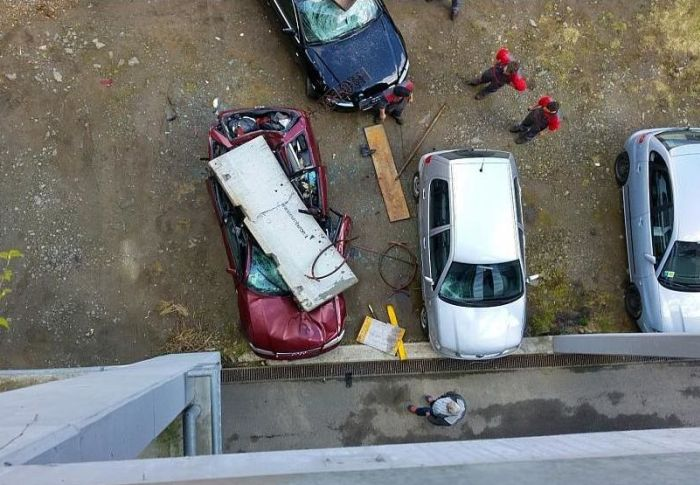 Audi Gets Crushed By A Concrete Block