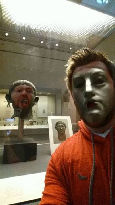 Guy Does Hilariously Creepy Face Swaps With Statues In A Museum