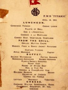 Menus From The Titanic Show Food Selections For All The Passengers On Board
