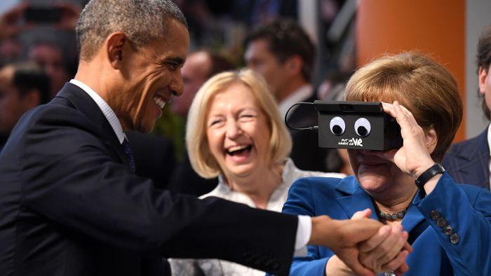 President Obama And Angela Merkel Test Virtual Reality Technology