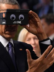 President Obama And Angela Merkel Test Virtual Reality Technology