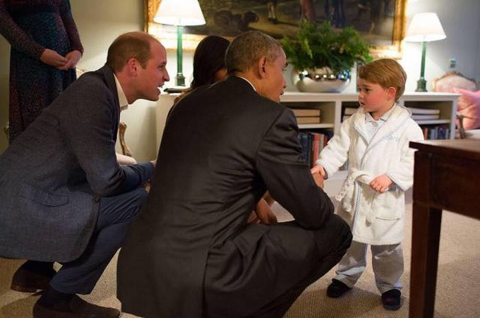 Prince George Showed Off His Adorable Pajamas When He Met President Obama