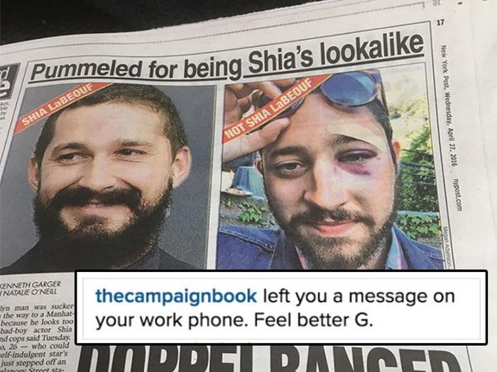 Shia LeBeouf Reaches Out To His Doppelganger Who Got Punched In The Face