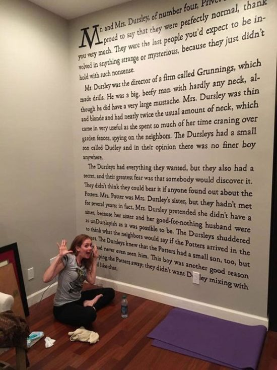 Harry Potter Fanatic Paints An Entire Page From One Of The Books On Her Wall