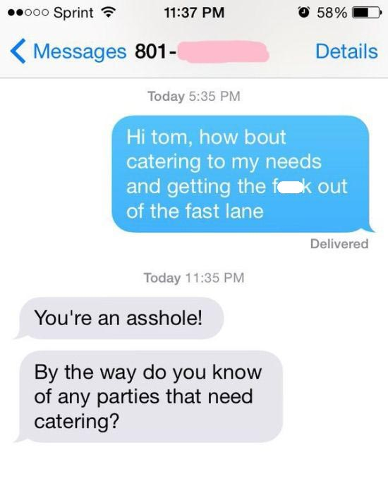 Awful Driver Gets Owned Via Text Message