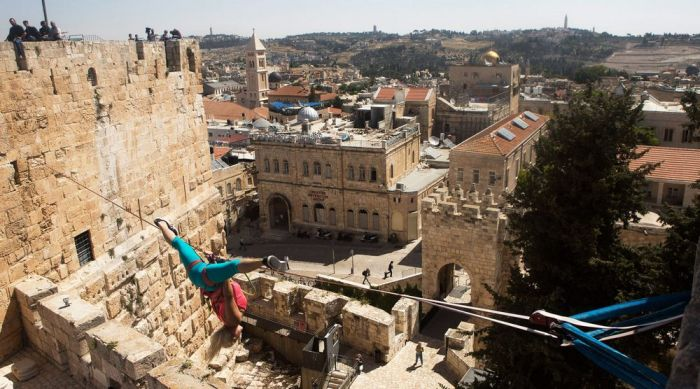 American Walks Across A Tightrope At Jerusalem's Tower Of David