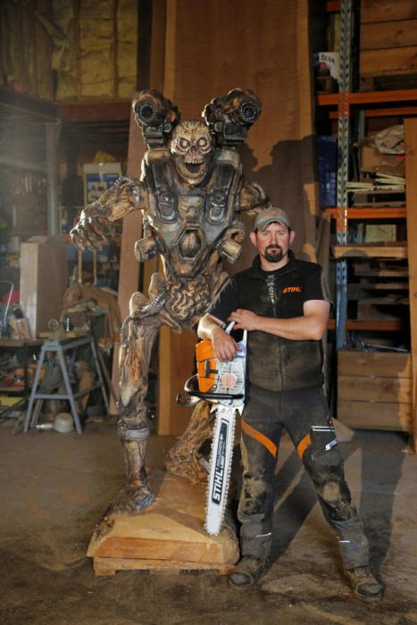 Man Uses Chainsaw To Create Demon Sculpture Revenant From Doom
