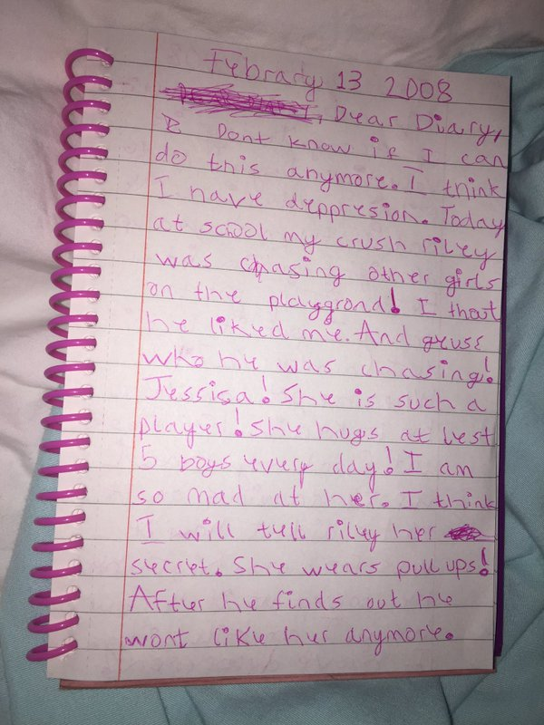 Girl Finds Hilariously Angsty Diary From When She Was 7, part 7
