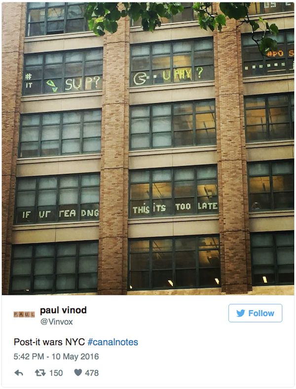 A Post It Note War Has Taken Over New York City