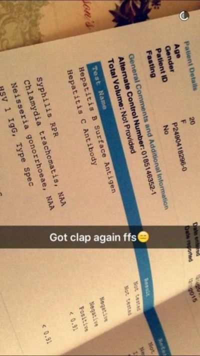 Girl Snapchats STD Results And Tells Her Partners To Get Tested