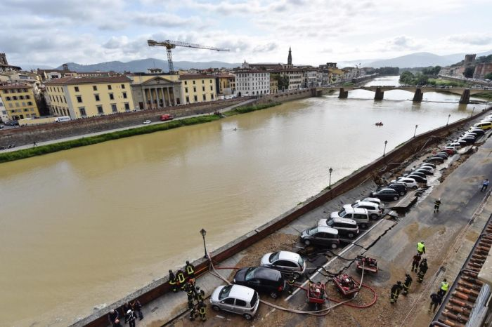Parking Area Collapses On The Banks Of Florence's Arno River