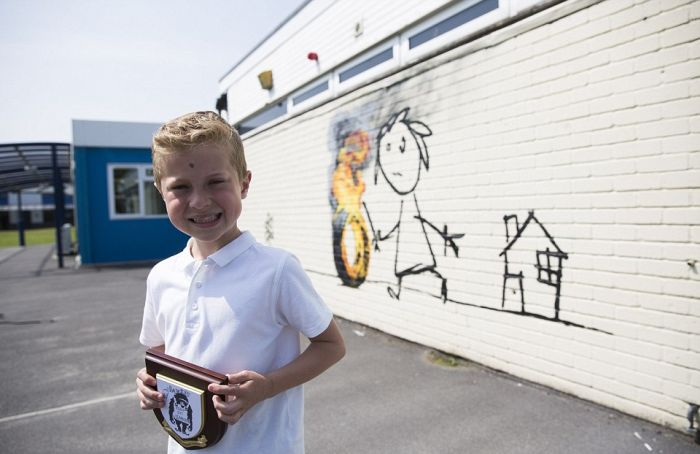 Banksy Paints Special Mural At Bridge Farm Primary School