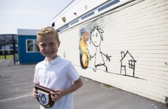 Banksy Paints Special Mural At Bridge Farm Primary School
