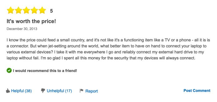 The Reviews For This $1,500 USB Cable Are Hilarious