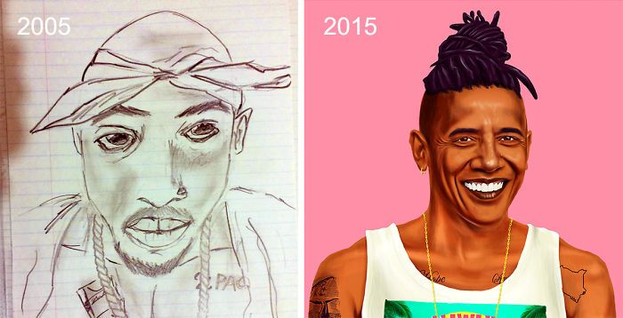 Before And After Drawings Show How Artists Progress Over Time