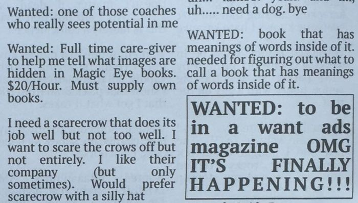 Hilarious Fake Want Ads From The Community Newspaper