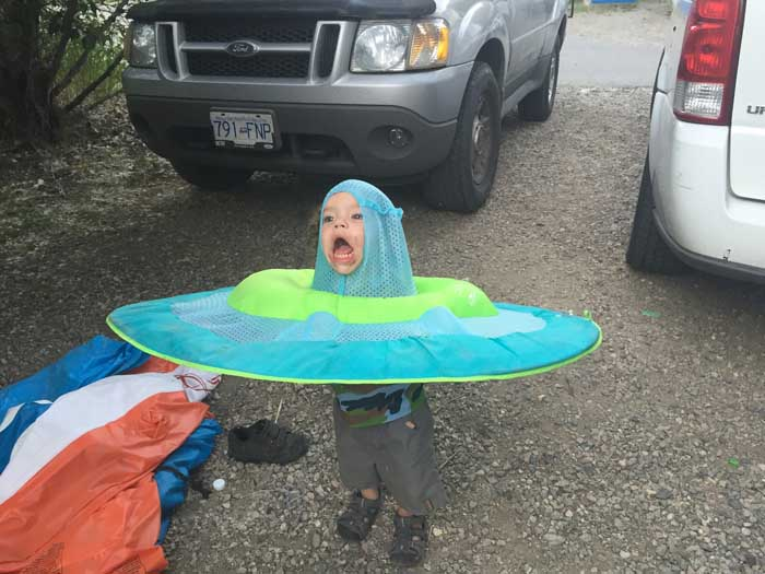 Kid With Toy Water Raft On His Head Gets Turned Into A Photoshop Masterpiece