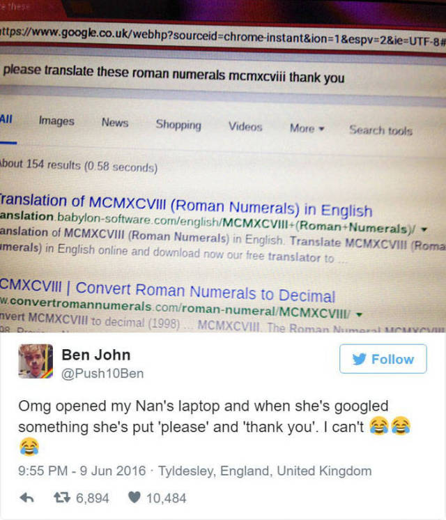 Guy Posts Polite Google Search From His Grandmother's Computer