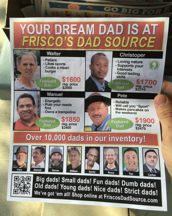 Fake Father's Day Flyer Wants To Help You Find Your Dream Dad