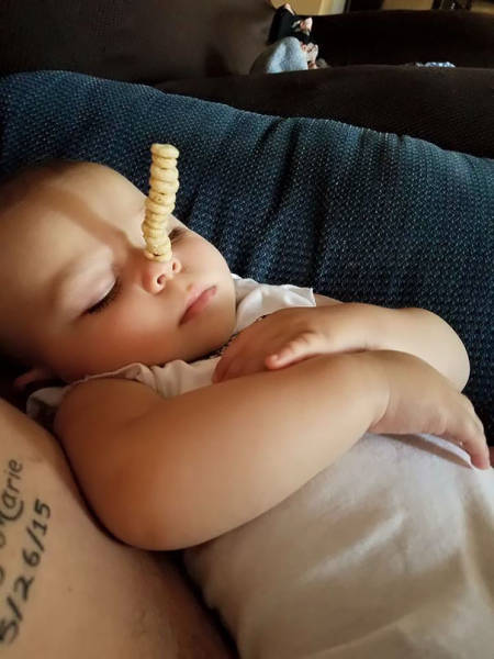 Fathers Enter Their Babies Into The Cheerios Stacking Challenge