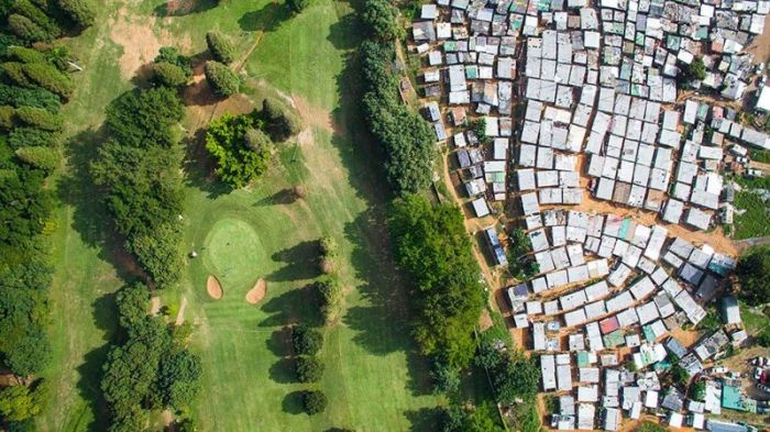 The Lines That Separate The Rich And Poor Sections Of Africa's Cape Town