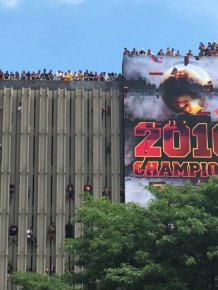 Cavs Fans Celebrate Their Team's Big Win In Cleveland