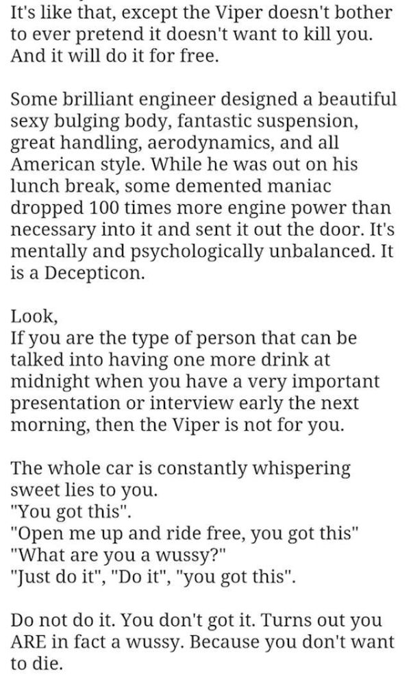 Guy's Discouraging Dodge Viper Ad Really Makes You Want To Buy His Car