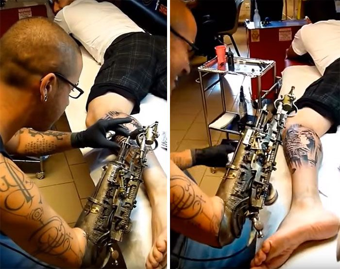 Tattoo Artist Gets First Ever Tattoo Gun Prosthetic