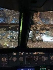 Pilots Land Plane Blind After Hail Destroys Their Windshields