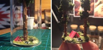 Artist Creates Miniature Homes In Test Tubes