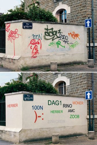 Street Artist Paints Over Ugly Graffiti To Make It Legible