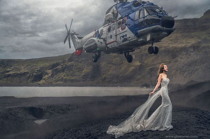 Helicopter Almost Knocks Bride Down For Crazy Wedding Photo