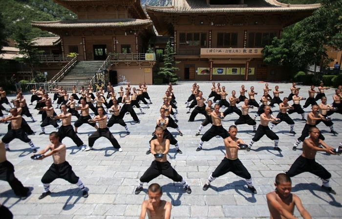 Shaolin Kung Fu Monks Gather To Train In The Heat