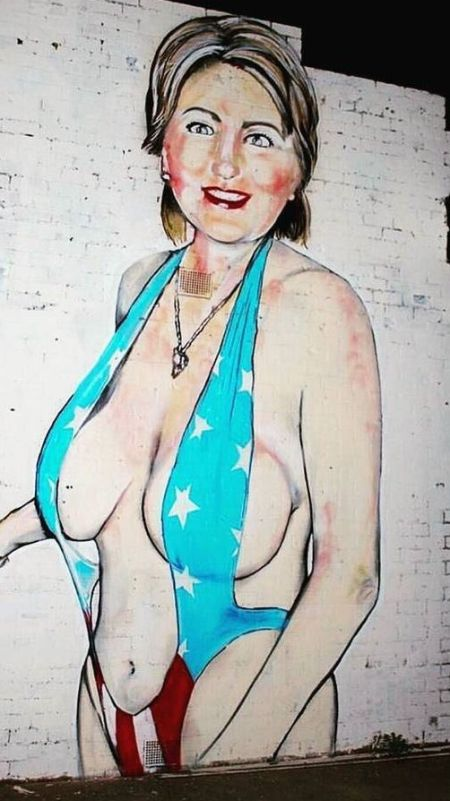 Nearly Naked Hillary Clinton Graffiti Gets Turned Into A Muslim Woman