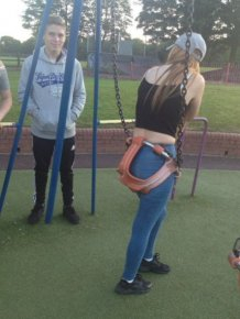 Apparently This Girl Is A Little Too Old For The Swing