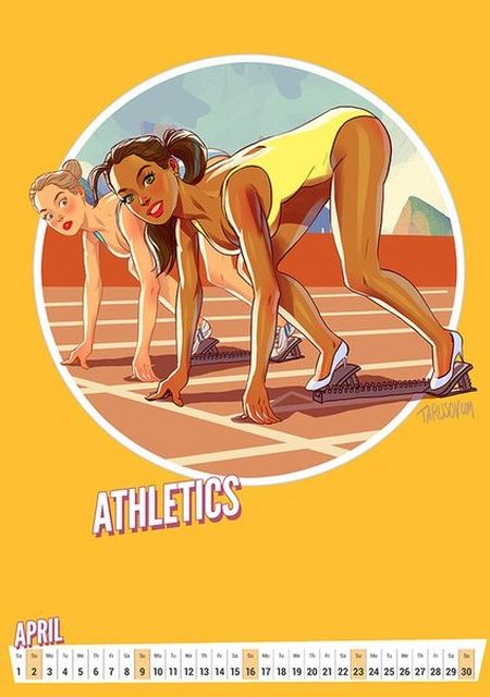 Artist Creates Awesome Pin-Up Style Calendar For The Olympic Games in Rio