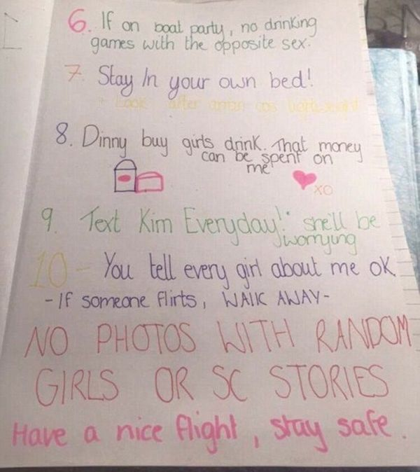 Girlfriend Gives Ridiculous List of Rules To Her Boyfriend Before Vacation
